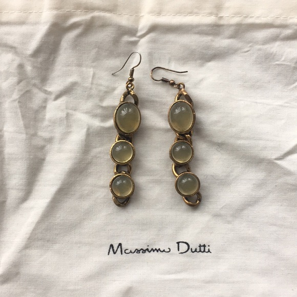 Madison Dutti chain earrings with natural stones